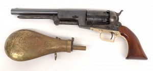 "Commemorative Colt pistol in case with powder horn. Marked ""Colt's Patent"" and ""5021"". 16"""